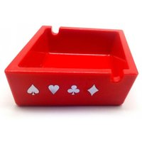 Mini Poker Pattern Red Square Ashtray